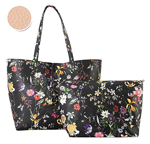 Diophy PU Leather Colorful Floral Pattern Two Tone Reversible Large Tote Womens Purse Handbag with Matching Crossbody Bag 2 Pieces Set FL-6000 FL-6001 (Bag Zippered Tone Tote)