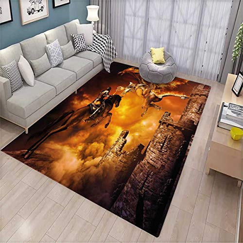 Modern Kids Carpet Playmat Rug Kids Nursery with a Knight on a Horse Castle Mystic Fairytale Artwork Print Door Mats for Inside Non Slip Backing Black and Marigold