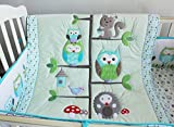 NAUGHTYBOSS Unisex Baby Bedding Set Cotton 3D Embroidery Appliqued Owl Tree Trunk Homes Quilt Bumper Bedskirt Fitted 7 Pieces Green