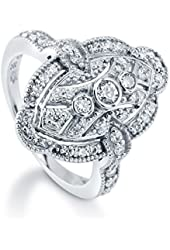 BERRICLE Sterling Silver 0.59 ct.tw Cubic Zirconia CZ Art Deco Filigree Fashion Right Hand Ring