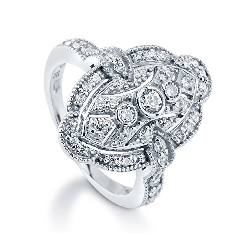 BERRICLE Rhodium Plated Sterling Silver Cubic Zirconia CZ Statement Art Deco Milgrain Fashion Right Hand Ring Size 8 ()