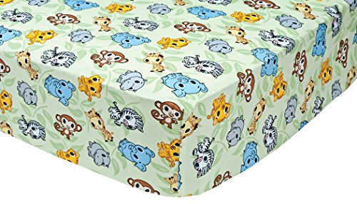 Trend Lab Chibi Zoo Crib Sheet, Sage (Chibi Zoo)