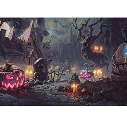 (Cinhent Diamond Painting, Halloween 5D Embroidery Rhinestone Pasted DIY Cross Stitch- 40 × 30CM, Home, Office, Hotel Wall Life Arts Festival Gifts,Night Horror Secluded Pumpkin Light Stone)