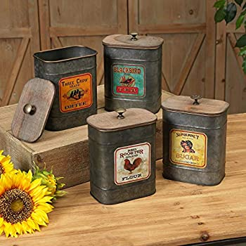 vintage style kitchen canisters amazon com set of 4 large vintage antique style galvanized metal kitchen canisters with wood 3314