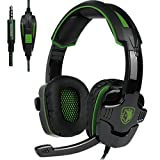 New Updated Gaming Headphones,SADES SA930 3.5mm Stereo Sound Wired Professional Computer Gaming Headset with Microphone,Noise Isolating Volume Control for Pc/Mac/Ps4/Phone/Table(Black Green)