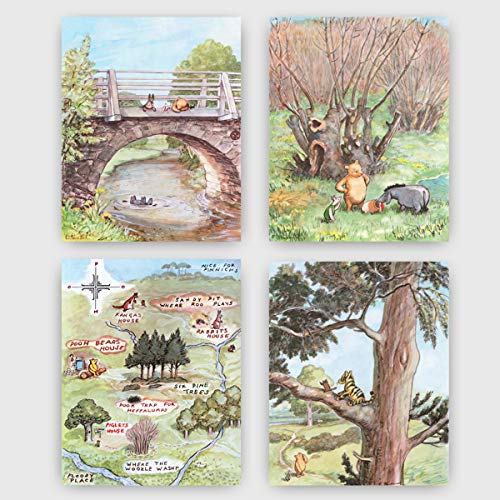 - Classic Winnie the Pooh Art Prints (Baby Nursery Wall Decor) 8x10 Unframed, Set of 4