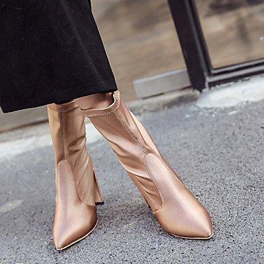 Damen Schuhe Kunstleder Frühling Herbst Winter Komfort Neuheit Pumps Stiefel Blockabsatz Mit Für Hochzeit Normal Kleid Party & Festivität gold