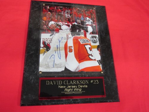 David Clarkson New Jersey Devils Autographed 8x10 Plaque ON TOP OF NET vs FLYERS! - New Jersey Devils Plaque