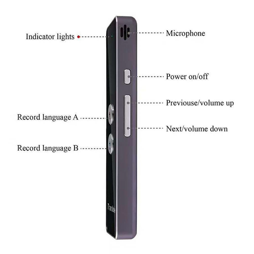 2.4G Optical Two-Way Real Time Multi-Language Translation Portable Smart Voice Translator Support 33 Language for Learning Travelling Business Meeting J-Cooper Translator