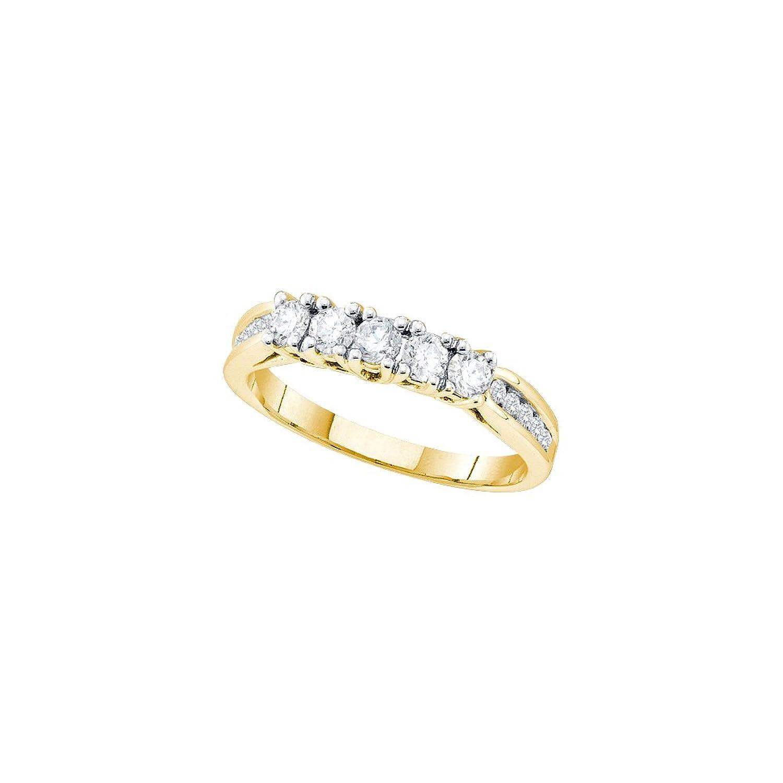 14k Yellow Gold Round Prong-set 5-Stone Natural Diamond Womens Wedding Anniversary Ring (.60 cttw.)