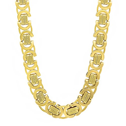 The Bling Factory 9mm 14k Gold Plated Byzantine Chain Necklace, 20