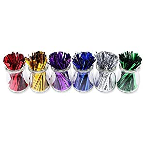 1200pcs 4'' Metallic Twist Ties - 6 Colors
