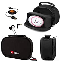 DURAGADGET Black Neoprene Lightweight Zip-Locked Carry Case Compatible with the AngelSounds Fetal Doppler Baby Heart Monitor - Includes Retractable Mini USB Sync Cable and In-Ear Comfortable Earphones