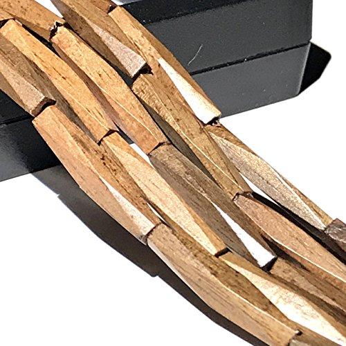 [ABCgems] Philippine Tiger Ebony Hardwood AKA Kamagong (Exquisite Craftsmanship- Beautiful Wood Grain) 4X21mm Diamond-Cut Rectangular Prism Organic Tropical Wood Beads Rectangular Wood Beads