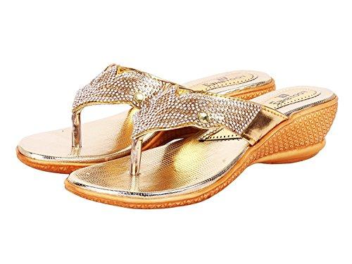 Footshez Best Women #39;s Golden Wedge Heel Slippers