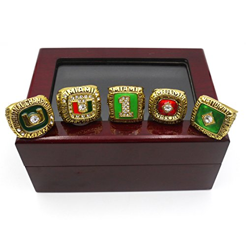 Vonscool 1983 1987 1989 1991 2001 Miami Hurricanes Championship Ring Set Size 11 Fan Men Gifts