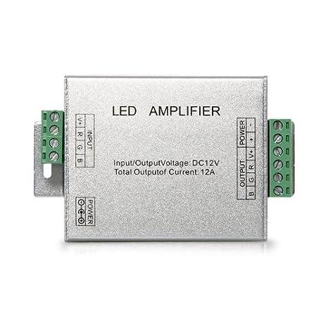 SODIAL(R) Amplificador de la seal del repetidor para cinta luces LED RGB 12V DC 12A: Amazon.es: Electrónica
