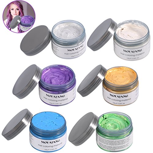 Temporary Hair Coloring Wax, 6 Colors Disposable Grandma Grey Color Hair Matte Modelling Cream for Men or Women - Matte Yd