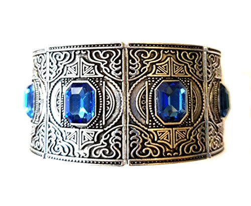 Game of Thrones Inspired Cuff Bracelet, Silver-Tone with Sapphire -