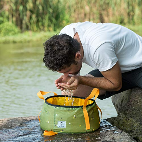 Naturehike 15/18L Large Food-Grade Foldable Packable Collapsible Water Bucket - 0.3lbs Lightweight Strong Wash Basin for Outdoor Cooking Picnic Camping Hiking Fishing Traveling with Carrying Bag ()