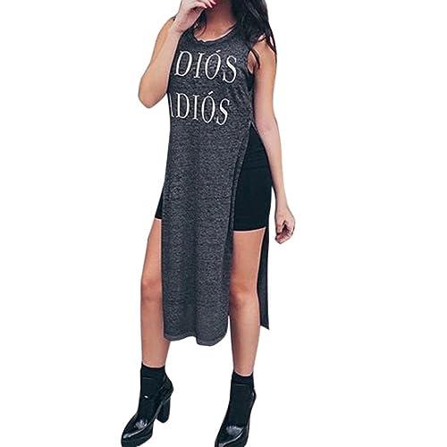 Longra ♣Moda Mujer Verano Casual sin mangas vestido largo vestido suelto