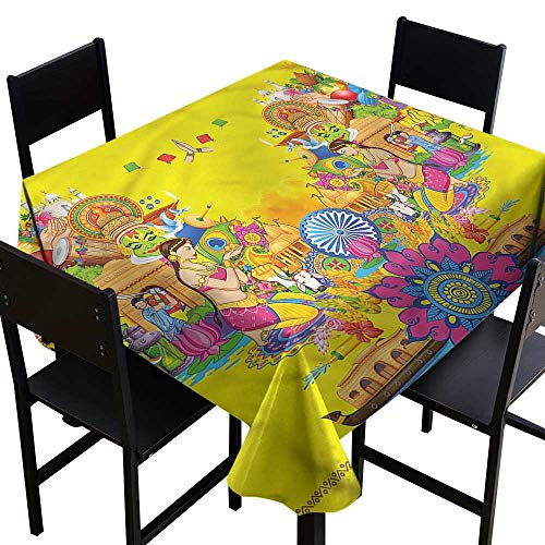 Modern Resistant Table Cover Summer Fan Cooler Party Decorations Table Cover Cloth 70 x 70 Inch