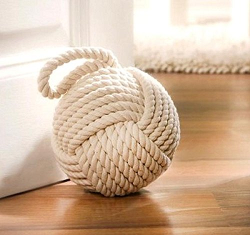 PSW - Home Accent 6 in Cream Rope Knot Door Stopper, Window Wedge, Bookend Product SKU: HD220900