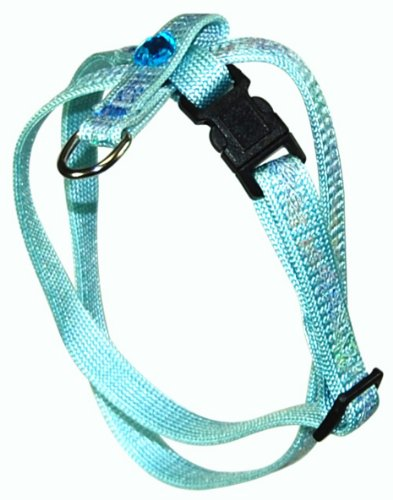 Hamilton 3/8″ Adjustable Figure 8 Pup-Cat Harness, Heart Design Nylon, Medium, Light Blue, My Pet Supplies
