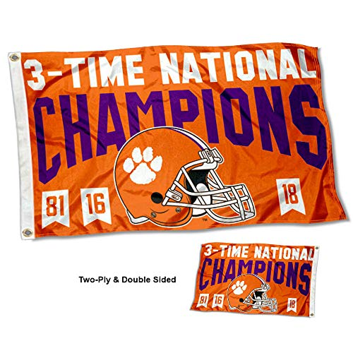 (College Flags and Banners Co. Clemson Tigers 3 Time National Champions Double Sided Flag)
