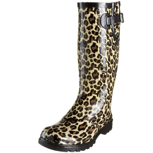 Nomad Women's Puddles Rain Boot, Tan Leopard, 8 M US