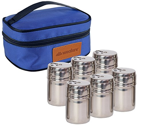 (Portable Stainless Steel Spice Shaker Seasoning Dispenser - 6 Pc Set with Rotating Lids and Travel Bag| Spice Jars - Salt and Pepper Shakers - Dry Herb Spice Condiment Dispenser | Camping | BBQ)