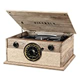 Victrola 4-in-1 Cambridge Farmhouse Modern Bluetooth Turntable with FM Radio, Farmhouse Oatmeal