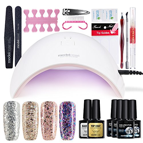 Modelones Gel Nail Starter Kit, UV LED Glitter Gel Nail Polish with Nail Dryer Manicure Set