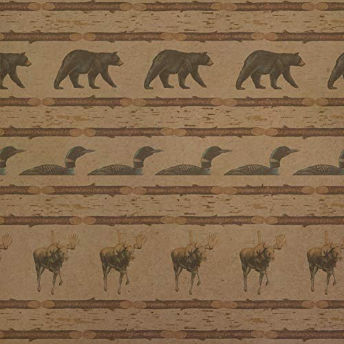 GRAPHICS & MORE Loon Moose Bear Lodge Log Cabin Premium Kraft Roll Gift Wrap Wrapping Paper