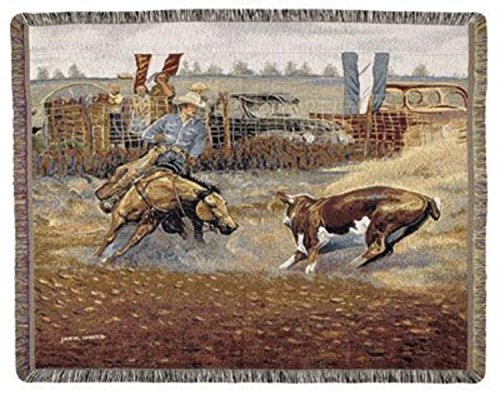 Simply Home Western Cowboy Rodeo Scene Tapestry Throw 50
