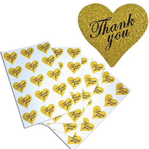 Heart Stickers Thank You in Gold Glitter - Heart Shaped Labels 1.5