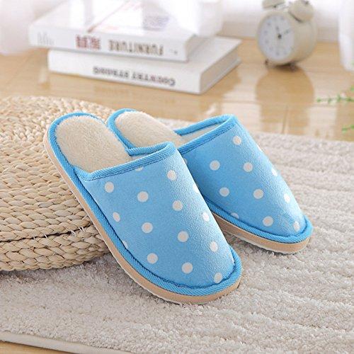Fankou Autunno e Inverno indoor pantofole di cotone uomini e donne fashion onda coppie punto caldo cotone pantofole home pantofole coppie ,3839, Viola