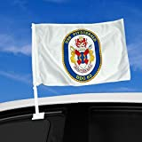"Double Sided Car Flag - 12"" x 15"" with US Navy USS Fitzgerald (DDG 62), destroyer emblem (crest) - Durable and long lasting"