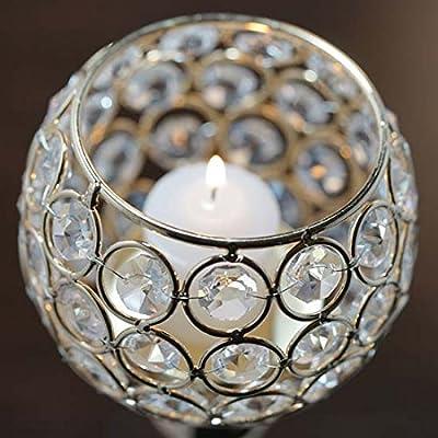 """Efavormart Gold 16"""" Tall Sleek Pillar Crystal Votive Tealight Candle Holder Wedding Centerpiece"""