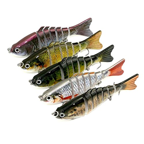 Spbamboo Fishing Lure -7PCS/Set Fishing Lures Lifelike Multijointed 7-segement Pike Fishing Lure Fake Fish Bait (Suit) ()