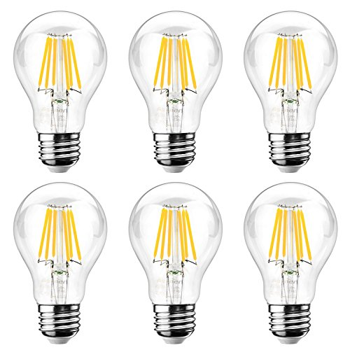 Ascher E26 LED Classic Light Bulbs / 8W, Equivalent 75W, 1000lm / Warm White 2700K / Filament Clear Glass/Non Dimmable/Pack of 6