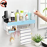 Adhesive Bathroom Shelf Storage Organizer, iHEBE Shower Caddy for Shampoo Combo, Conditioner, Makeup and Kitchen Rack with Towel Bar, Magnetic Soap Holder and Hanger Hooks (Blue)