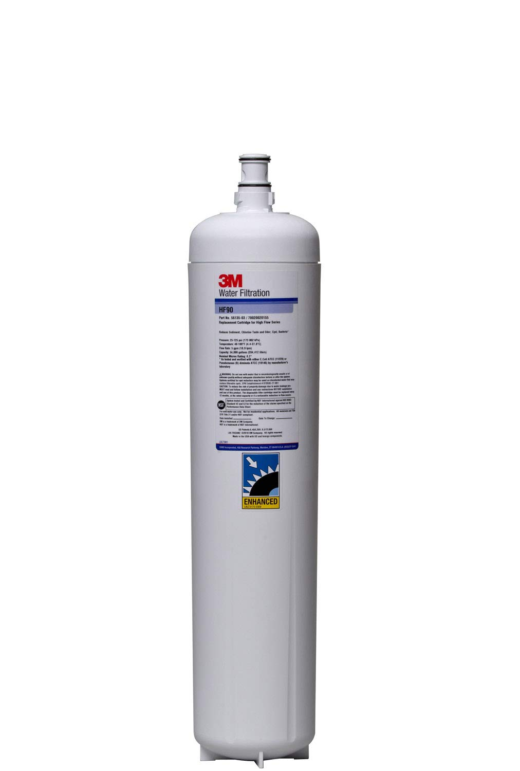 3M Water Filtration Products Filter Cartridge, Model HF90, 54000 Gallon Capacity, 5 gpm Flow Rate, 0.2 Micron