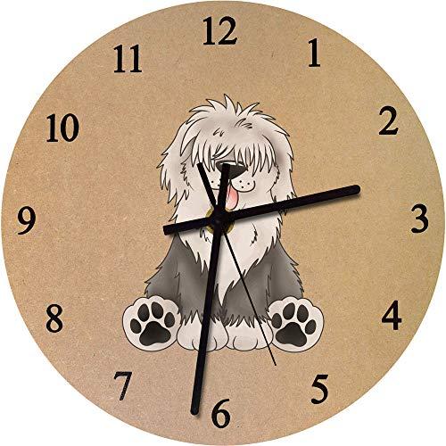 Azeeda 275mm 'Old English Sheepdog' Large Wooden Clock (CK00027003)
