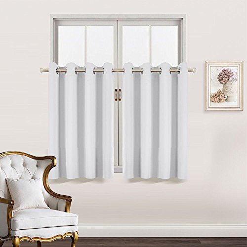 Blackout Curtain Tiers Valances Set - RYB HOME Home Decorative Window Covering 8 Grommets Drapes Room Darkening Drapery for Nursery / Baby Room, 52 Width x 36 Length In Each Panel, Platinum, 2 Pcs (Home Valances Window Curtain)