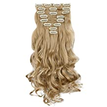 "Ash Blonde 17"" Long Curly Wavy Clip in 8 Pieces Full Head Set Hair Extensions 8pcs Hairpiece Extension For Women Lady Girl"
