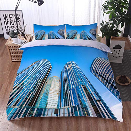 HOOMORE Bed Comforter - 3-Piece Duvet -All Season, Modern Skyscrapers of Beijing Sanlitun Soho China,HypoallergenicDuvet-MachineWashable -Twin-Full-Queen-King-Home-Hotel -School - Soho Platform Bed Twin