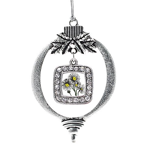 - Inspired Silver - Daisy Flower Charm Ornament - Silver Square Charm Holiday Ornaments with Cubic Zirconia Jewelry