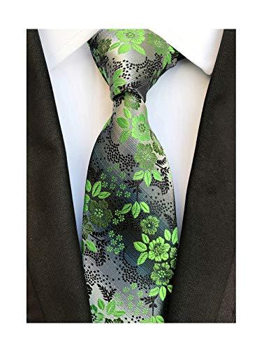 Necktie Black Background (Men's Green Grey Textured Party Silk Jacquard Woven Self Ties Birthday Presents)