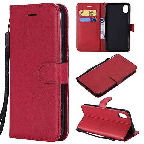 Gostyle Flip Wallet Case for iPhone XR, iPhone XR Premium PU Leather Case with Credit Card Holder,Retro Book Style Stand Cover with Magnetic Closure Hand Strap-Red